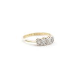 18ct yellow gold/platinum antique x3 diamond ring
