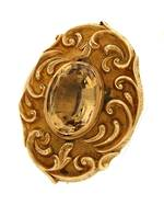 Antique 9ct yellow gold citrine set brooch