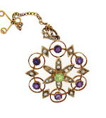 Antique 9ct yellow gold pearl/amethyst/peridot pendant
