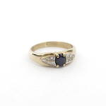 9ct yellow gold sapphire/diamond set vintage ring