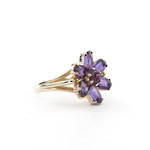 9ct yellow gold amethyst 'flower' ring
