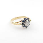 18ct yellow gold/platinum sapphire and diamond dress ring