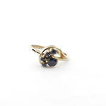9ct yellow gold cluster sapphire dress ring