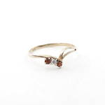 9ct yellow gold garnet/diamond set dress ring