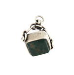 Sterling silver bloodstone set fancy pendant/charm