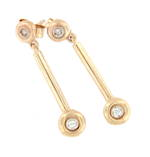 9ct yellow gold diamond set dangly earrings