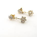 14ct & 18ct yellow gold and rhodium plate diamond cluster drop earrings