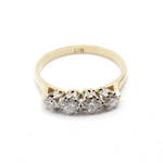18ct yellow and white gold four stone diamond set ring