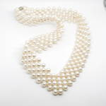 Cultured fresh water pearl necklace with magnetic clasp.