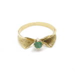 18ct yellow gold handmade emerald set ring