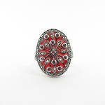 Brand new sterling silver ruby and red enamel and marcasite ring