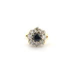18ct yellow and white gold sapphire and diamond cluster ring