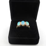 15ct rose gold three stone opal set ring