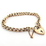 9ct rose gold curb link heart padlock bracelet