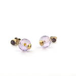 9ct yellow gold '1900's' amethyst and garnet stud drop earrings