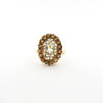 9ct yellow gold light peridot and citrine ring