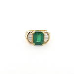 18ct yellow gold emerald and baguette cut diamond ring