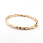 9ct rose gold twist style hinged bangle
