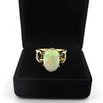 9ct yellow gold solid opal ring