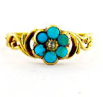 18ct antique yellow gold turquoise flower style ring