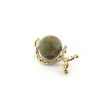 9ct yellow gold and agate globe charm