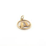 9ct yellow gold lovebirds charm