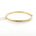 9ct yellow gold engraved hinged bangle