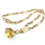 9ct rose gold antique fancy link chain with spinning citrine pendant