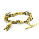 15ct yellow gold antique tassel and t-bar bracelet