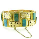 18ct yellow gold and turquoise flexible patterned bracelet