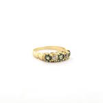 18ct yellow gold antique green sapphire and old cut diamond ring
