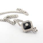 18ct white gold multi diamond and onyx pendant and 18ct white gold belcher link chain