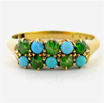 18ct yellow gold turquoise and demantoid garnet ring