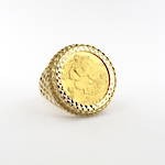 Men's 9ct yellow gold 22ct full sovereign set ring