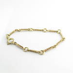 9ct yellow gold fancy curb and round link bracelet