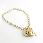 9ct yellow gold curb link heart padlock bracelet