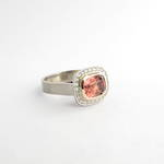 9ct white and rose gold pink tourmaline and diamond cluster ring