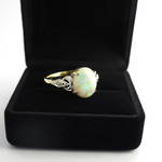 18ct yellow gold and rhodium plated opal and diamond ring