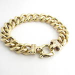 9ct yellow gold diamond set heavy curb link bracelet