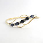 9ct yellow gold sapphire and diamond hinged bangle