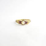 18ct yellow gold antique moonstone & synthetic ruby ring