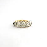 18ct yellow & white gold antique London-bridge style 5 stone diamond ring