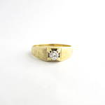 18ct yellow gold diamond set signet ring