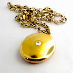 15ct yellow on rose gold antique old european cut diamond set locket & 9ct yellow gold new belcher link chain