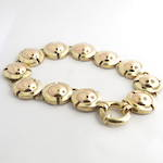 9ct yellow and rose gold circle disc design bracelet