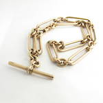 9ct rose gold antique paperclip link T-bar necklace