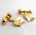 9ct yellow on rose gold vintage engraved cufflinks
