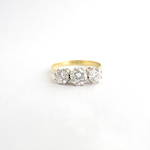 18ct yellow and white gold three stone diamond ring