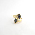 18ct yellow gold sapphire and diamond fan style ring