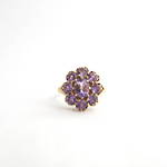 9ct yellow gold amethyst cluster style ring